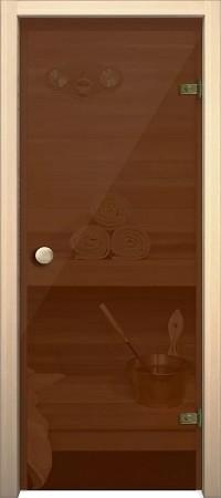 """Дверь для сауны """"Кноб Е"""" Бронза тонированное"""
